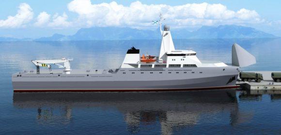 Многоцелевое судно с горизонтальным способом грузообработкий