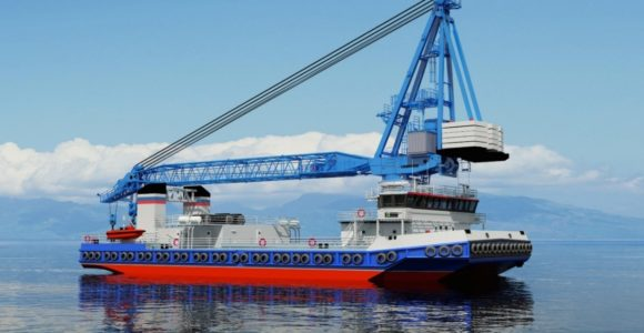 Морской самоходный плавучий кран грузоподъемностью до 250 т