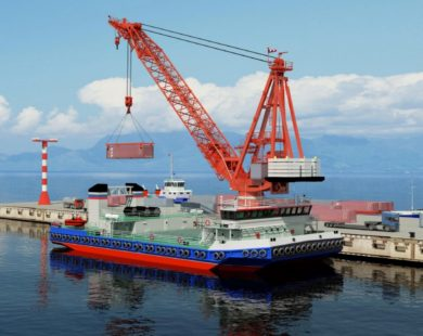 Морской самоходный плавучий кран грузоподъемностью до 300 т